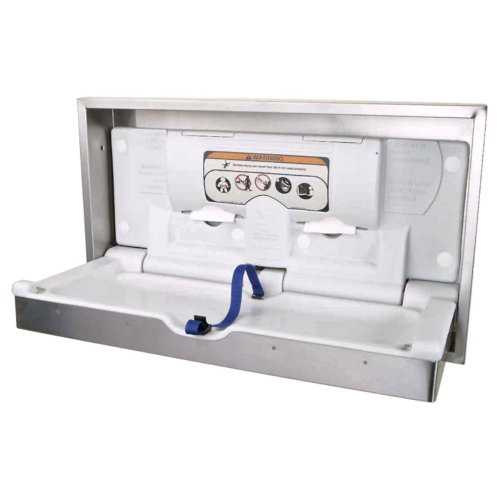Brocar Brocar Horizontal Clad Stainless/Poly Changing Station, Polyethylene/Stainless Steel, Recessed Mount front-1003668