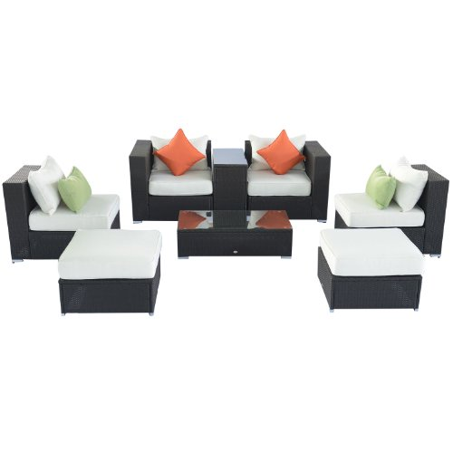 Outsunny 8pc Outdoor PE Wicker Rattan Patio Sectional