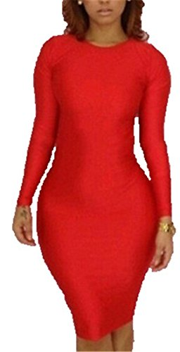 Qiyun Fashion Women Sexy Backless Long Sleeves Bandage Bodycon Party Cocktail Dress