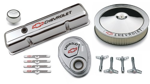 Proform 141-900 Chrome Engine Dress-Up Kit with Black Chevrolet/Red Bowtie Logo for Small Block Chevy (Engine Dress Up Kits compare prices)