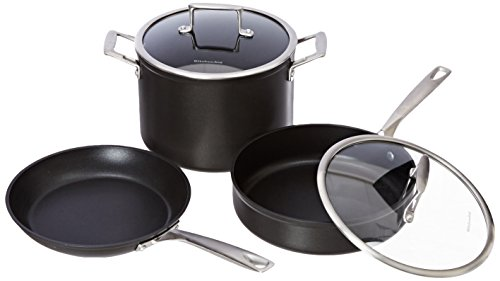 Kitchenaid kch2s10km professional hard anodized nonstick 10 piece cookware set black - Kitchen aid pan set ...