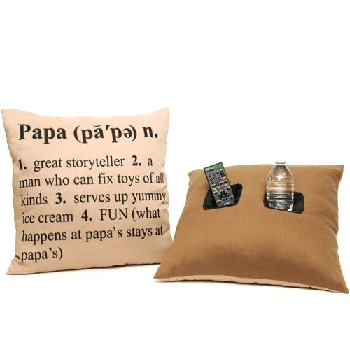 PAPA pappa Definition men's fathers day Double Pocket remote control nook cup holder beer caddy THROW PILLOW