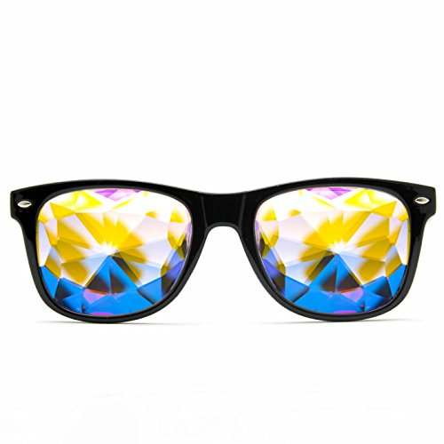 GloFX Ultimate Kaleidoscope Glasses - Black - Rainbow EDM Rave Light Diffraction Eyewear (Black)
