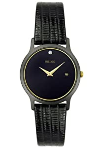 Seiko Men's SKP333 Dress Black Leather Strap Watch by Seiko