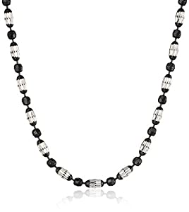 Italian Sterling Silver Rhodium and Black Rhutenium Plated Diamond Cut Oval and Round Beads Mezzaluna Chain Necklace