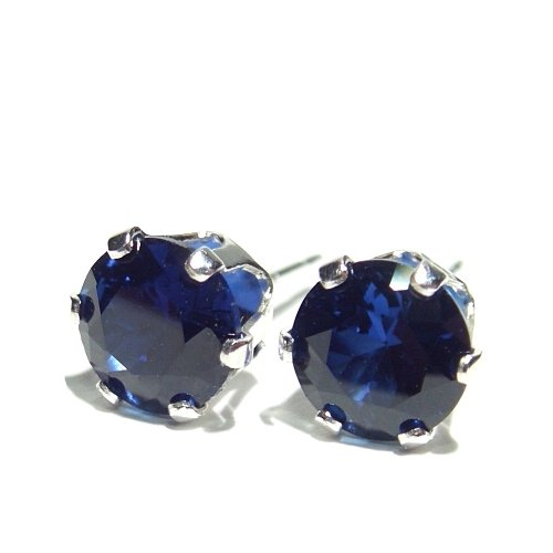 Men's 925 Sterling Silver Stud Earrings set with AAA Created Sapphire Round Cut Stones. 2.1 ct. Gift Box. Beautiful jewellery for very special people.