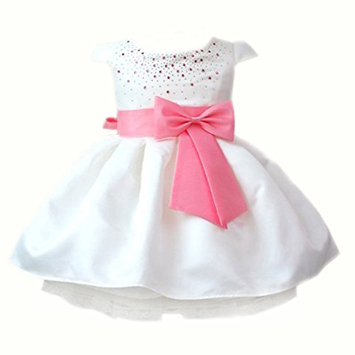 Baby Girls Toddler Kids Princess Party Bowknot Belt Bubble Skirt Formal Dress (80(Advice2-3Years), Pink)