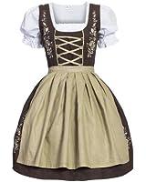 Dirndl Set 3 tlg.Trachtenkleid mit Bluse und Schürze, Gr. 34 bis 46 braun beige