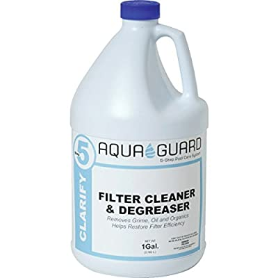 4 pk AquaGuard 1 Gallon Filter Cleaner Degreaser Spa Water Swimming Pool - Removes Grime, Oil And Organics - Helps Restore Filter Efficiency