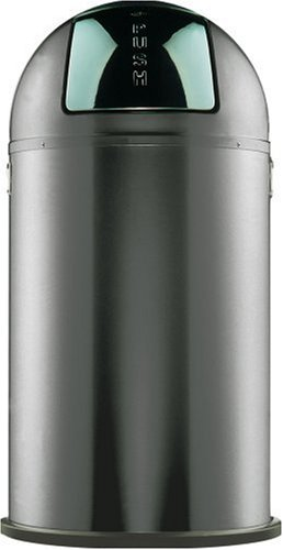 Wesco Pushboy Powder Coated Steel Waste Bin, 50 Litre, Graphite