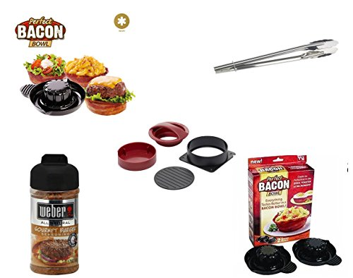 Hamburger Press with 2 Bacon Bowls, Stainless Steel Locking Tongs, Weber Gourmet Burger Spice (5.75 oz) 4 Item Bundle ~ Value Set ~ Gift Set ~