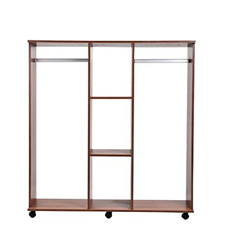 Homcom-Mobiler-Kleiderschrank-Holzschrank-Garderobenschrank-Dielenschrank-offen-braun