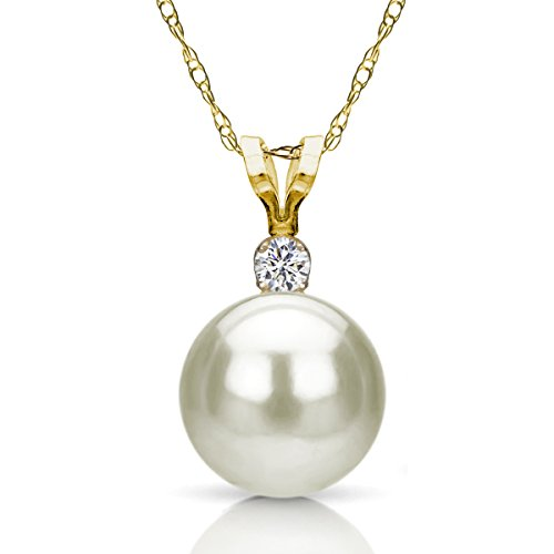 14K Yellow Gold 7-7.5Mm White Round Cultured Freshwater Pearl Bunny Pendant With .01Ctw Diamond 18""