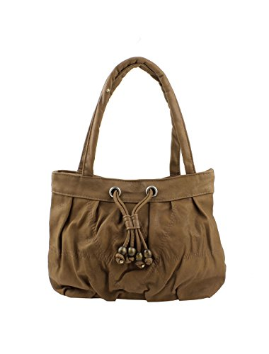 Faux Leather Women Zippered Shopping Bag Handbag Brown