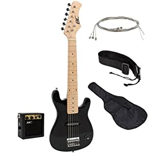 new 30 kids black electric guitar with amp much more guitar combo accessory kit. Black Bedroom Furniture Sets. Home Design Ideas