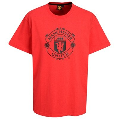 OFFICIAL MANCHESTER UNITED RED LARGE CREST T-SHIRT