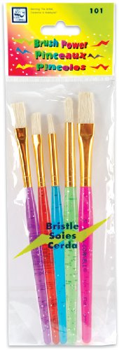 Brush Power Bristle Set 5/Pkg-Round 3,5/Flat 4,6,10 - 1