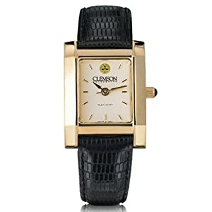 Clemson University Ladies Swiss Watch - Gold Quad Watch with Leather Strap by M.LaHart & Co.
