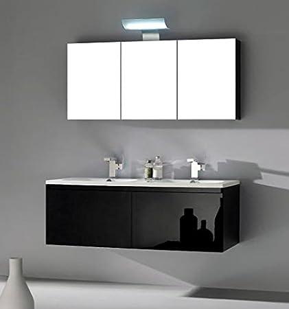 Mobile Arredo Bagno 120cm sospeso lavabo in mineralmarmo moderno nero con specchio contenitore Mobili