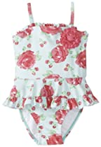 Little Me Baby-Girls Infant Rose Swimsuit, Pink Floral, 24 Months