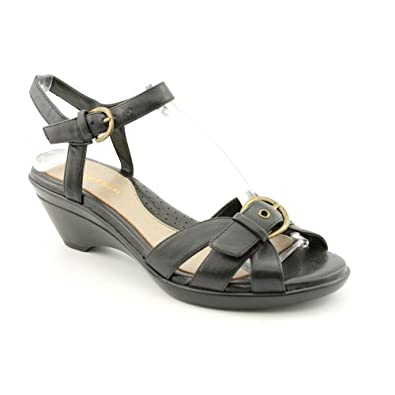 Easy Spirit Sabine Womens Size 6 Black Open Toe Leather Wedge Sandals Shoes