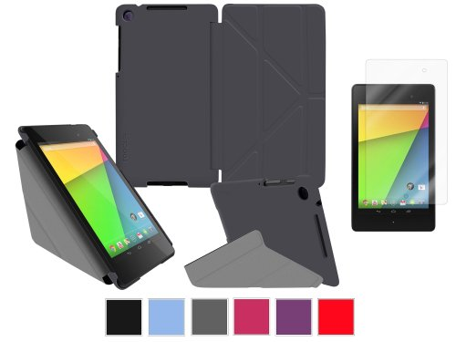 rooCASE Google Nexus 7 FHD Case – Slim Shell Origami Cover with Ultra HD Plus Anti-Fingerprint / Self-Healing / Bubble Free Screen Protector – GRAY (With Auto Wake / Sleep Cover)