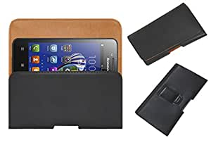Acm Belt Holster Leather Case For Lenovo Rocstar A319 Mobile Cover Holder Clip Magnetic Closure Black
