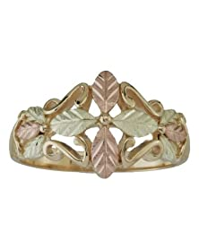 buy 10K Yellow Gold Star-Leaf Cross Band With 12K Rose And Green Gold, Size 5
