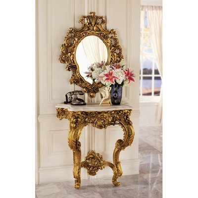 Design Toscano Madame Antoinette Wall Console Table and Salon Mirror Set (Console Wall Table compare prices)