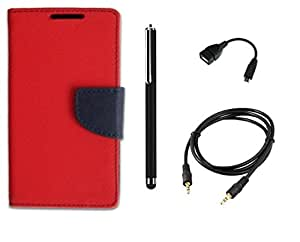 D'clair Combo of Flip Cover With Stylus ,OTG Cable and Aux Cable for HTC Desire 526 Red