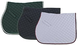 Roma Quilted Two-tone Binding All Purpose Saddle Pad - Navy/red/white, Full