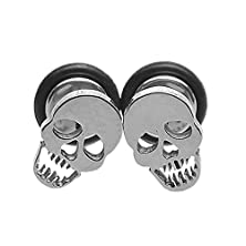 buy Housweety 316L Stainless Steel Hip-Hop Personality Skull Screw Back Stud Earrings 10X6.5Mm-1Pair