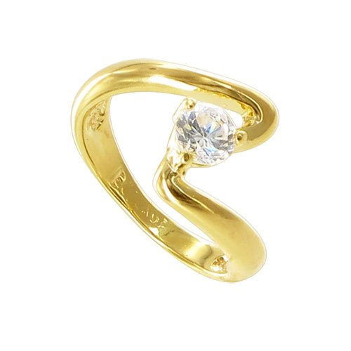 Nickel Free 18 KT Gold Layered 5mm Round Shaped CZ on 3 Prong Setting over 3mm Wide Swirl Top Band Ring Size 6.5