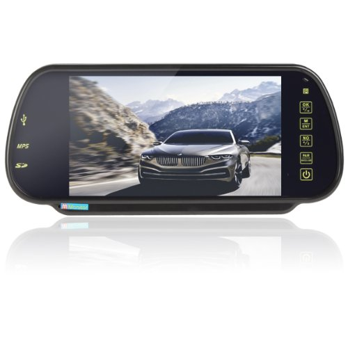 Epathchina® 7 Inch Tft-Lcd High Definition Digital Panel Color Car Rear View Monitor With Bluetooth Mp5 And Fm Transmitter Function 7W Dc 12V Vehicle Rearview Mirror Monitor Support 2 Video / Audio Input And Mmc / Ms / Sd Card & Usb Flash Disk With Ir Rem