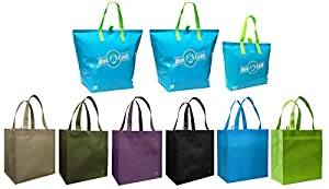 3 Insulated Aqua Color Tote Bags + Reusable Grocery Tote Bag 6 Pack Combo