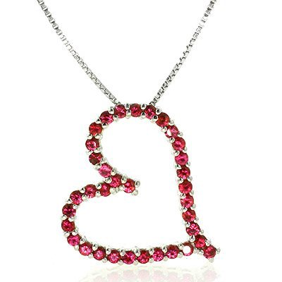 Sterling Silver Created Ruby Heart Pendant & 18