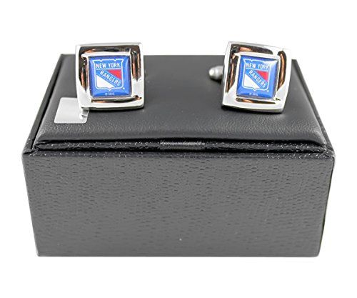 NHL New York Rangers Team Logo Engraved Square Cufflinks Gift Box Set