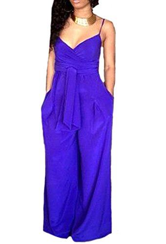 RedExtend-Femme-Combinaison-Lacet-Bleu-V-Col-Pantalon-Jambe-Large-Plus-Taille-XXL