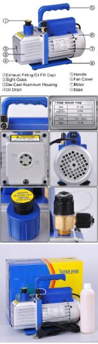 3 CFM Single Stage Rotary Vane Refrigeration Vacuum Pump
