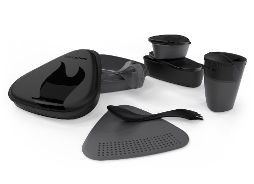 Light My Fire 8-Piece BPA-Free Meal Kit 2.0 with Plate, Bowl, Cup, Cutting Board, Spork and More (Black)