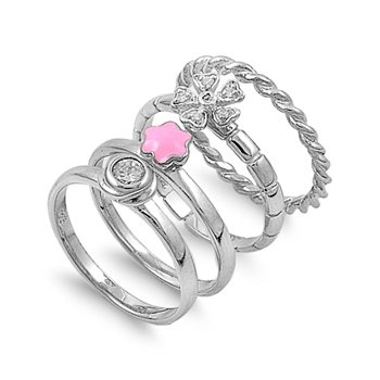 "7Mm (.27In) 4-Four Band Designer Inspired Multi-Band ""Round Brillant Cut"" Pink Star Plumeria Flowerring 5-9 (.925 Italian Sterling Silver, 8)"