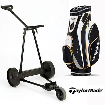 New! Emotion E3 23Lbs Pull Push Electric Motorized 3-Wheel Golf Cart Trolley + New! Taylormade Rbz Stage 2 Cart Bag