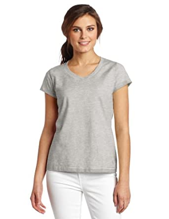 Champion Women's Favorite V-neck Tee, Oxford Gray, Small