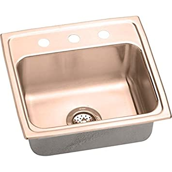 Elkao|#Elkay LRAD191950OS4-CU 18 Gauge Cuverro Antimicrobial copper 19.5 Inch x 19 Inch x 5 Inch single Bowl Top Mount Sink,
