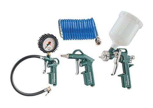 Metabo-Druckluft-Werkzeugset-LPZ-DL-qualitatives-Druckluftwerkzeug-fr-Kompressor-Set-mit-Blaspistole-Reifenfllmessgert-Farbspritzpistole-und-Spiralschlauch