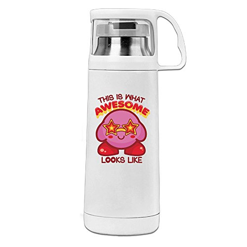 Thermos 12 Ounce Stainless Steel Commuter Bottle, Cartoon Pink Kirby Coffee/ Water Bottle, Travel Thermal Mug With Drink Cup