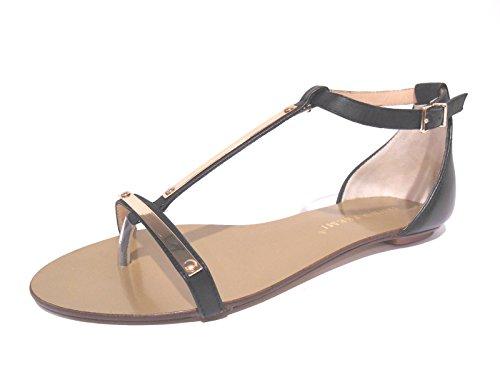 Scarpe donna sandali infradito bassi neri e oro chiusi sul tallone pelle n° 37 - X2604X Bruno Premi