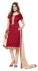 Khoobee Presents Embroidered Bhagalpuri Dress Material(Red,Beige)