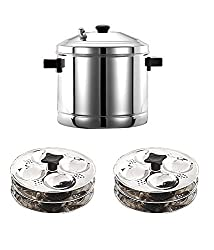 Globus Stainless Steel Idly Cooker, 4 Plates, 16 Idlies