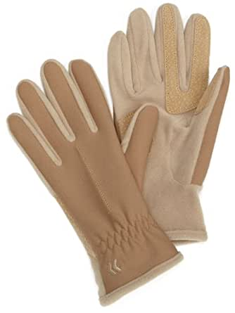 Isotoner Women's Hybrid Spandex/Fleece Glove,Camel,One Size